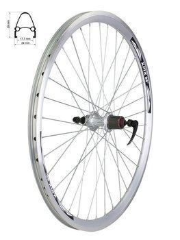"Aluminum Rear Bicycle Wheel 26"" for cassette 7 rows, rim cone, silver"