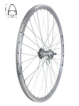 Aluminum Rear Bicycle Wheel 28, rim cone Arriv, coaster hub Favorit