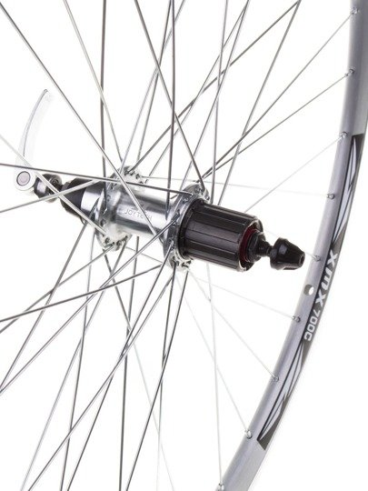 "Aluminum Rear Bicycle Wheel 28"", cassette 8-9 rows, rim silver"