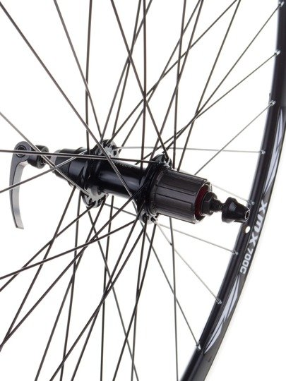 "Aluminum Rear Bicycle Wheel 28"" for cassette 7 rows, rim cone, black"
