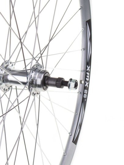 "Aluminum  Rear Bicycle Wheel 28"", rim cone, silver, Aluminum hub"