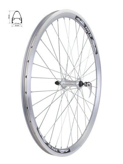 "Front Bicycle Wheel 26""  rim cone silver, hub for quick release"