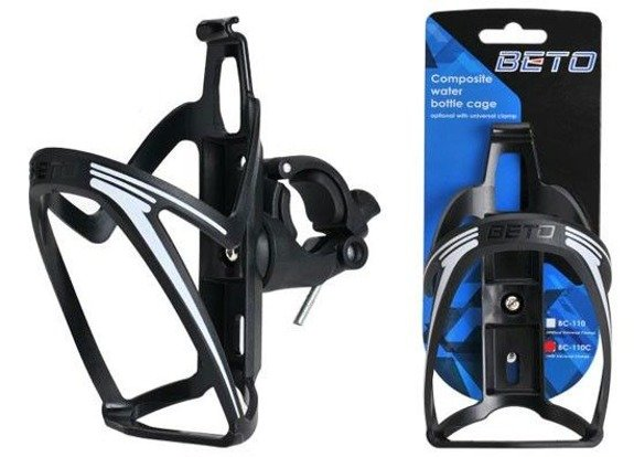 Beto BC-110 Water Bottle Cage Black / White Handlebar Bottle Cage 22,2 mm
