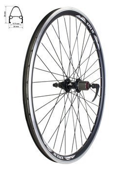 "Aluminum Rear Bicycle Wheel 26"", cassette 7 rows,  rim cone, black"
